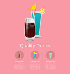 Quality drinks promo poster with cocktail of vodka vector