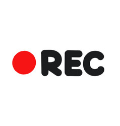 rec icon isolated on white background vector image