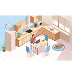 Remote worker at kitchen doing work woman child vector
