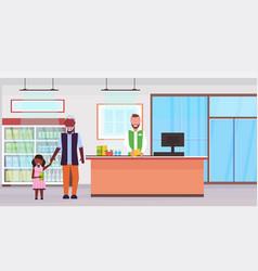 Retail man cashier supermarket african american vector