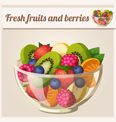salad with fresh fruits and berries vector image