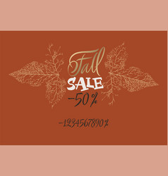 Sale fall tag with numbers set up your discount vector
