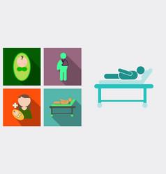 Set medicine icons patient baby mother vector