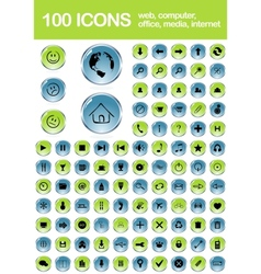 Set of 100 glossy web icons vector image