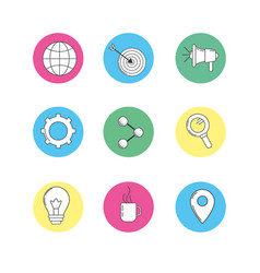 set technology icons to company information vector image