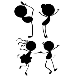 Silhouettes of dancers vector image