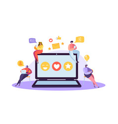 Social media concept with characters with gadgets vector