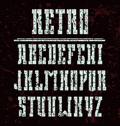 Stencil plate bold serif font in western style vector