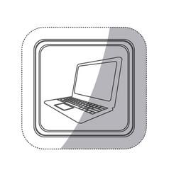 Sticker monochrome silhouette square button with vector