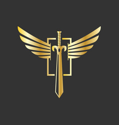 sword and wings logo design inspiration in gold vector image