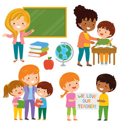 Teachers and students clipart set vector