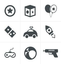 toy icons mono symbols vector image