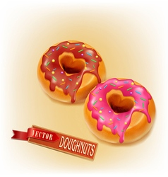 Two fried donut glaze and chocolate vector