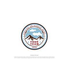 vintage retro mountain hill badge emblem vector image