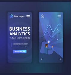 website mobile design business analytical vector image