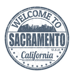 welcome to sacramento sign or stamp vector image