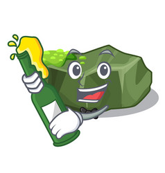 With beer green rock moss isolated on cartoon vector