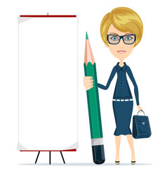 Woman holding a pencil and stands near a blank vector