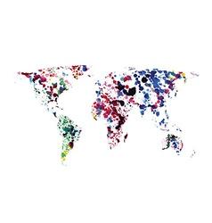 World map of watercolor blots vector