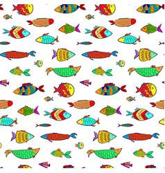 cute colorful cartoon aquarium fishes pattern vector image