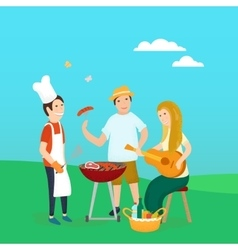 Happy friends on picnic Bbq party vector image vector image