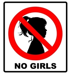 No girls allowed with female symbol - vector