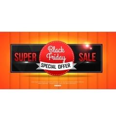 Super Sale Black Friday shining banner on orange vector image vector image