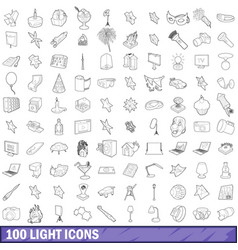 100 light icons set outline style vector