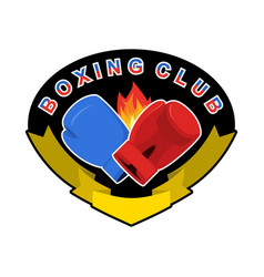 boxing emblem gred and blue loves logo for sports vector image