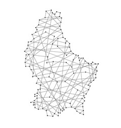 Map of luxembourg from polygonal black lines vector