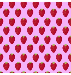 Pink and red strawberry textile print seamless vector image vector image