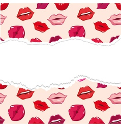red torn seamless lips wallpaper vector image vector image