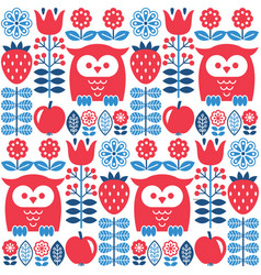 scandinavian seamless cute pattern with owl vector image vector image