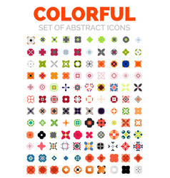 set of colorful geometrical abstract icons vector image