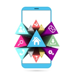 Smart phone in blue with icons vector image vector image