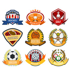 sport game team logo play tournament label vector image