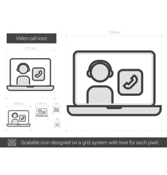Video call line icon vector image
