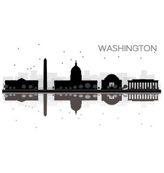 washington dc city skyline black and white vector image