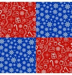 Christmas seamless patterns set vector image