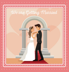 Colorful gretting card with couple groom and bride vector