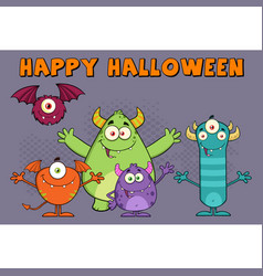 funny monsters cartoon characters vector image
