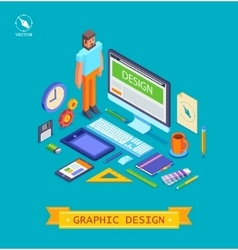 isometric icons set of vector image vector image