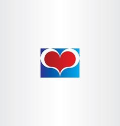 blue red love heart sign design element vector image vector image