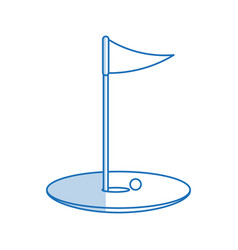 blue shading silhouette cartoon golf flag with vector image