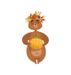 Girly cartoon brown bear character holding pumpkin vector