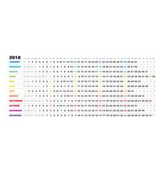 linear english 2018 calendar - day schedule vector image