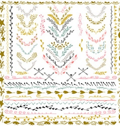 Set of Floral Design Elements Wedding set with vector image