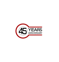 45 years anniversary with circle outline red vector