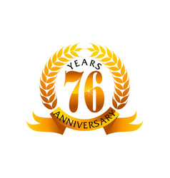 76 years ribbon anniversary vector