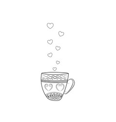 A cup of tea with hearts painted in black and vector